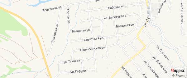 Советская улица на карте села Инзера с номерами домов