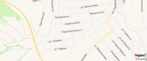 Партизанская улица на карте села Инзера с номерами домов