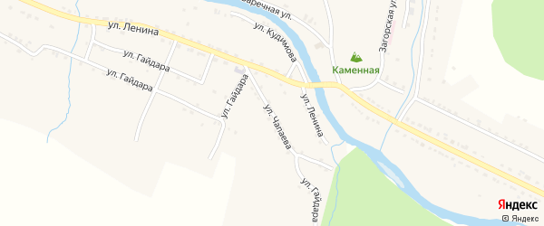 Улица Чапаева на карте села Верхнего Авзяна с номерами домов