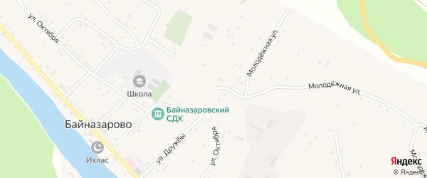 Молодежная улица на карте деревни Байназарово с номерами домов