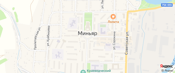 Территория ГСК Заводской на карте Миньяра с номерами домов