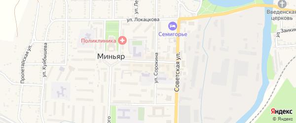 Центральная улица на карте Южного микрорайона с номерами домов