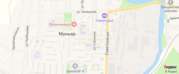 Центральная улица на карте Миньяра с номерами домов