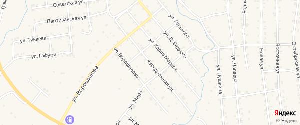 Аэродромная улица на карте села Инзера с номерами домов