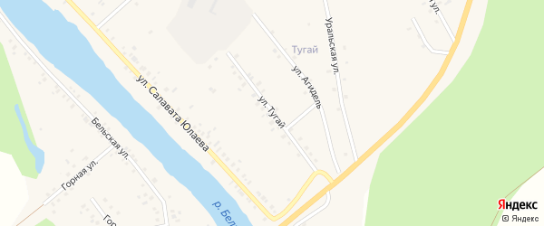 Улица Тугай на карте деревни Байназарово с номерами домов