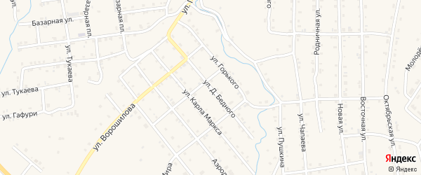 Улица Д.Бедного на карте села Инзера с номерами домов