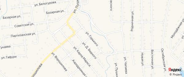 Улица М.Горького на карте села Инзера с номерами домов