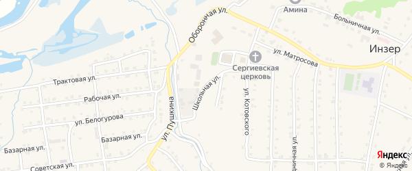 Школьная улица на карте села Инзера с номерами домов