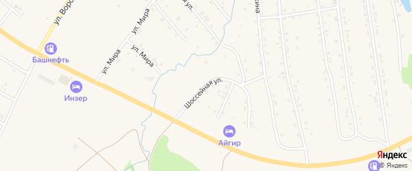 Шоссейная улица на карте села Инзера с номерами домов