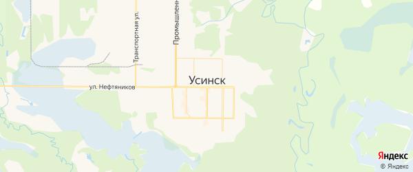 Карта Усинска с районами, улицами и номерами домов