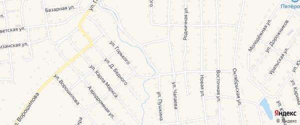Улица Пушкина на карте села Инзера с номерами домов