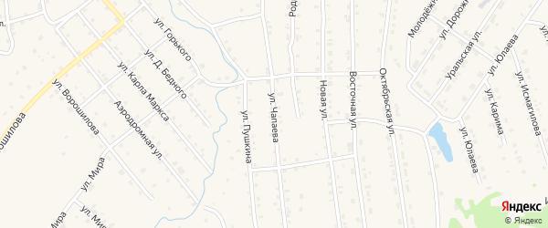 Улица Чапаева на карте села Инзера с номерами домов