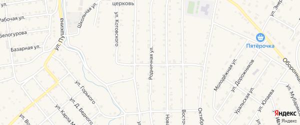 Родничная улица на карте села Инзера с номерами домов