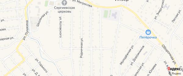 Белягушинский переулок на карте села Инзера с номерами домов
