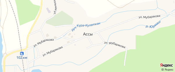 Улица Беркат на карте села Ассов с номерами домов