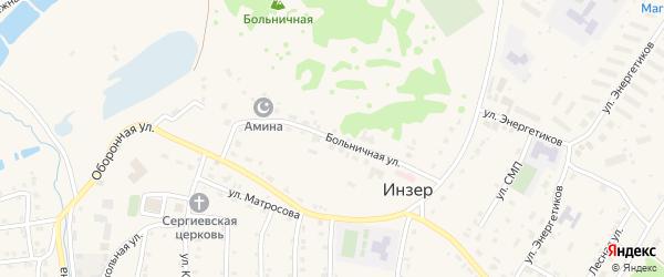 Больничная улица на карте села Инзера с номерами домов
