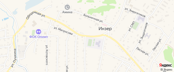 Оборонная улица на карте села Инзера с номерами домов