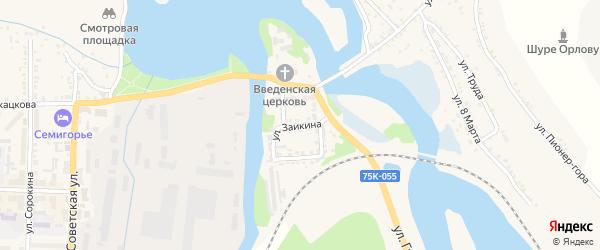 Улица Заикина на карте Миньяра с номерами домов