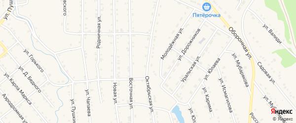 Октябрьская улица на карте села Инзера с номерами домов