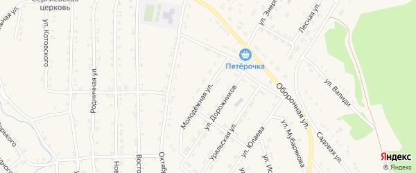 Молодежная улица на карте села Инзера с номерами домов