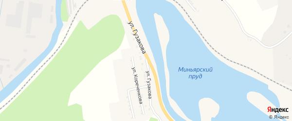 Улица Гузакова на карте Миньяра с номерами домов