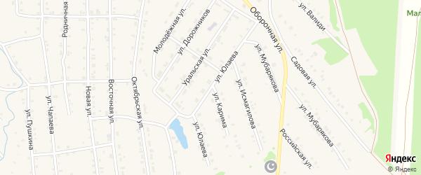 Улица С.Юлаева на карте села Инзера с номерами домов