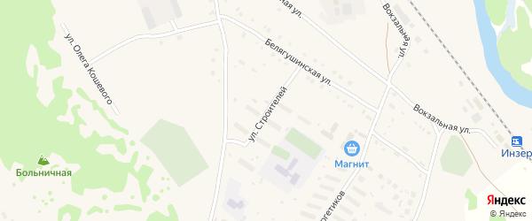 Улица Строителей на карте села Инзера с номерами домов