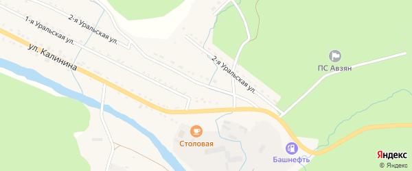 Уральская 2-я улица на карте села Верхнего Авзяна с номерами домов