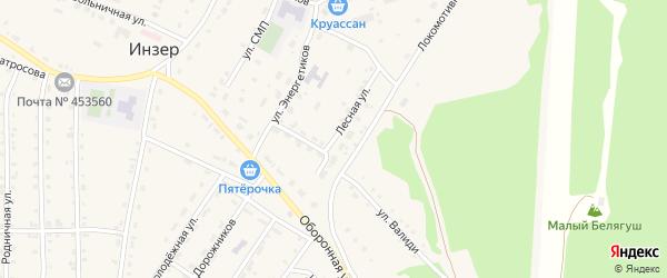 Лесная улица на карте села Инзера с номерами домов