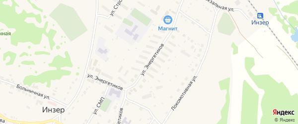 Улица Энергетиков на карте села Инзера с номерами домов