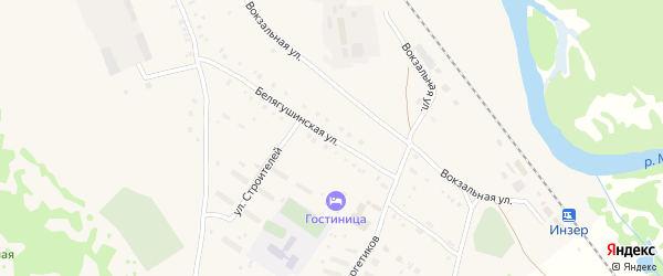 Белягушинская улица на карте села Инзера с номерами домов
