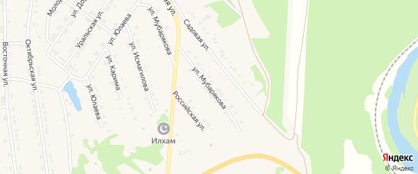 Улица Мубарякова на карте села Инзера с номерами домов