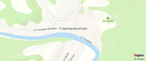 Карта деревни Старомунасипово в Башкортостане с улицами и номерами домов