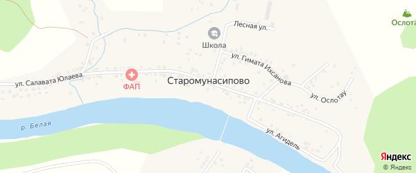 Береговая улица на карте деревни Старомунасипово с номерами домов