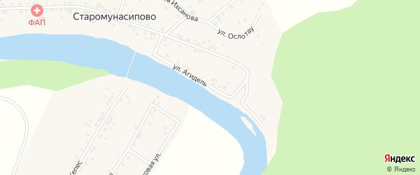 Улица Агидель на карте деревни Старомунасипово с номерами домов
