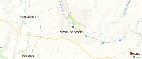 Карта Медногорска с районами, улицами и номерами домов
