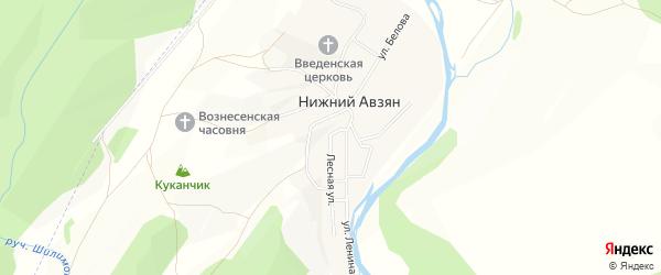 Карта села Нижнего Авзяна в Башкортостане с улицами и номерами домов