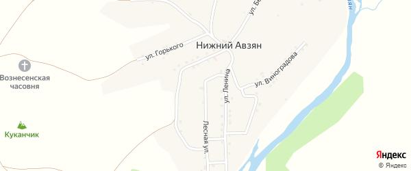 Улица Горького на карте села Нижнего Авзяна с номерами домов