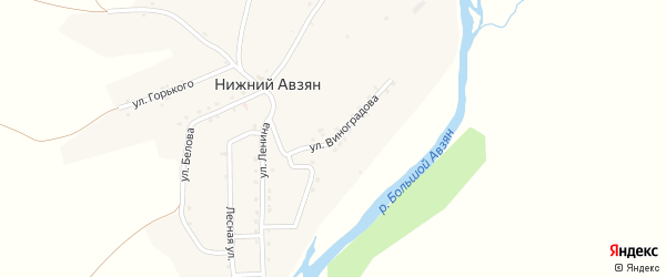 Улица Виноградова на карте села Нижнего Авзяна с номерами домов
