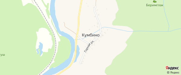 Лесная улица на карте села Кумбино с номерами домов