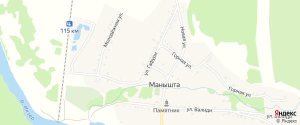 Улица М.Гафури на карте села Манышта с номерами домов
