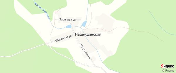 Карта Надеждинского хутора в Башкортостане с улицами и номерами домов