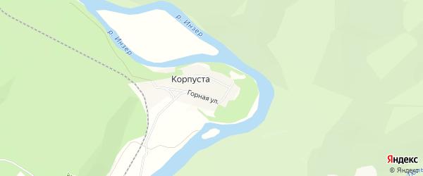 Карта деревни Корпусты в Башкортостане с улицами и номерами домов