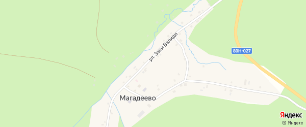Улица Заки Валиди на карте деревни Магадеево с номерами домов
