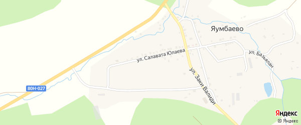 Улица Салавата Юлаева на карте деревни Яумбаево с номерами домов