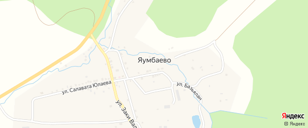 Школьная улица на карте деревни Яумбаево с номерами домов