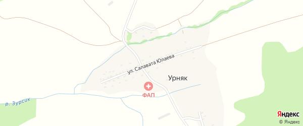 Улица Салавата Юлаева на карте деревни Урняка с номерами домов