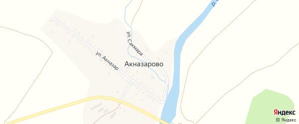 Улица Сакмара на карте деревни Акназарово с номерами домов