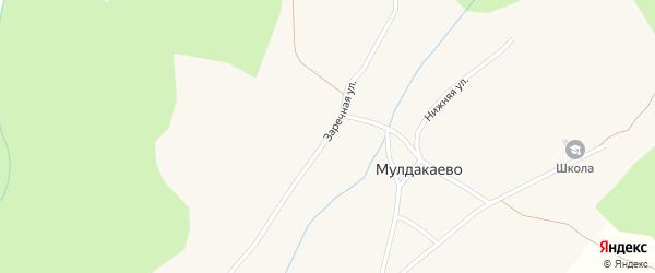 Заречная улица на карте села Мулдакаево с номерами домов
