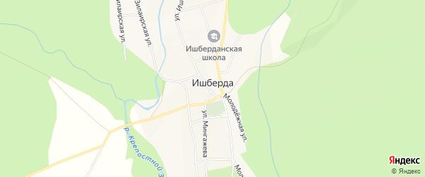 Карта села Ишберды в Башкортостане с улицами и номерами домов